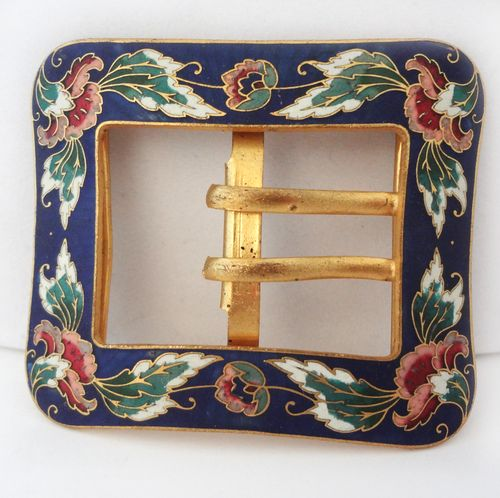 Antique victorian cloisonne belt buckle 03